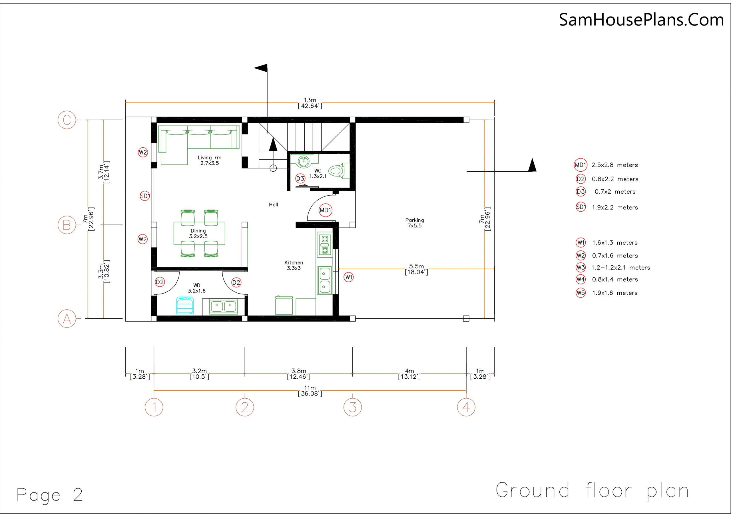 02 Ground floor plan House design Plan 7x13m with 3 Bedrooms