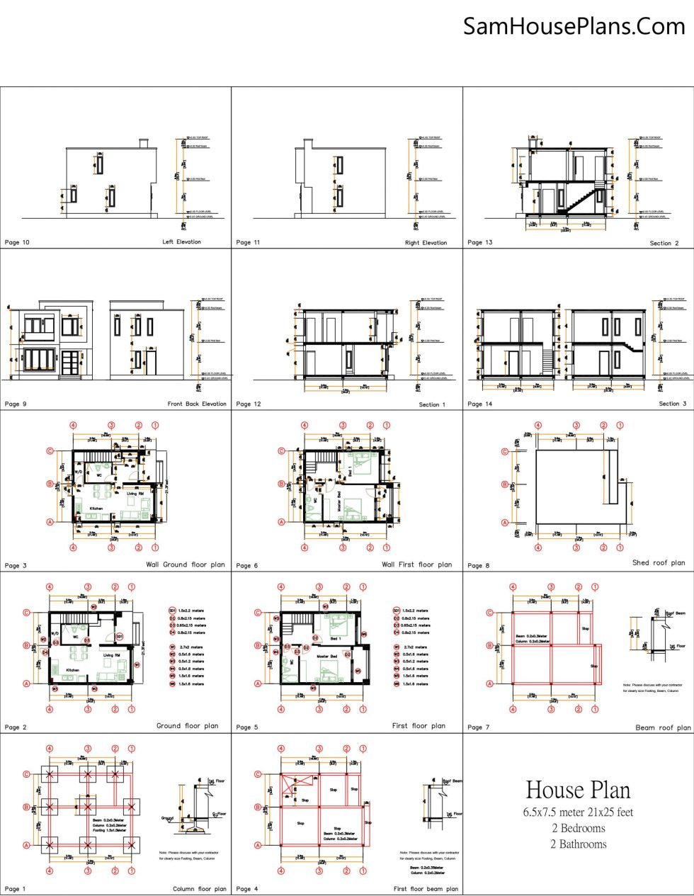 House Plans 6.5x7.5M with 2 Bedrooms roof