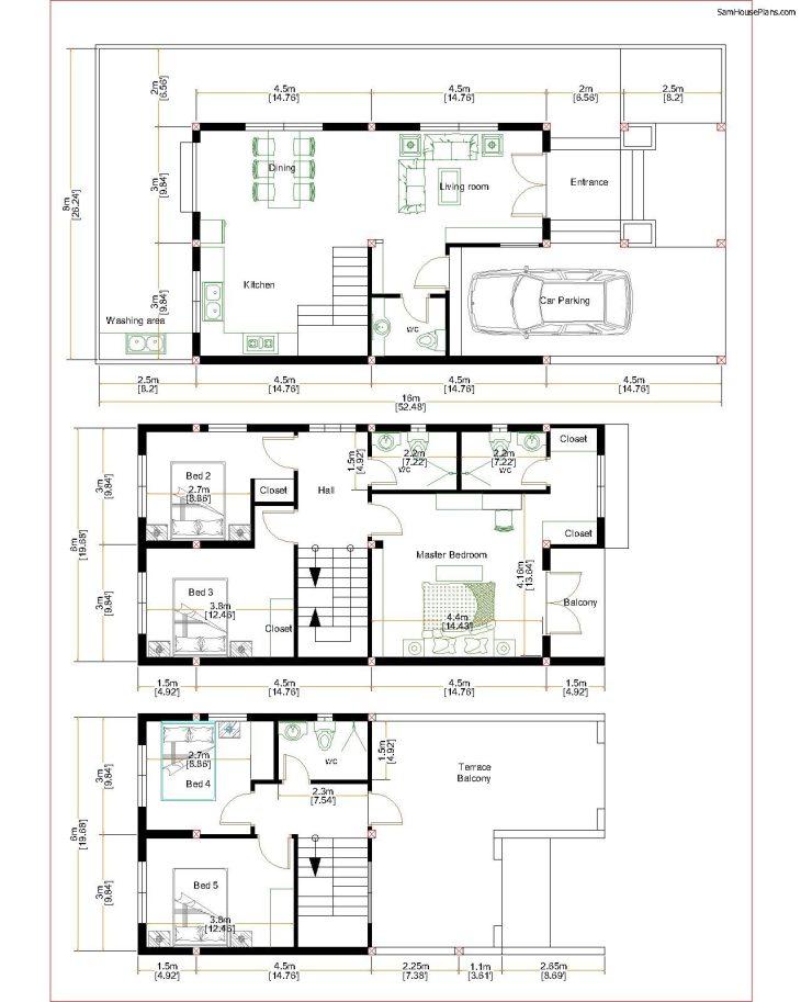 Home Design Plan 6x11m with 5 Bedrooms Plot 8x16m Floor plans