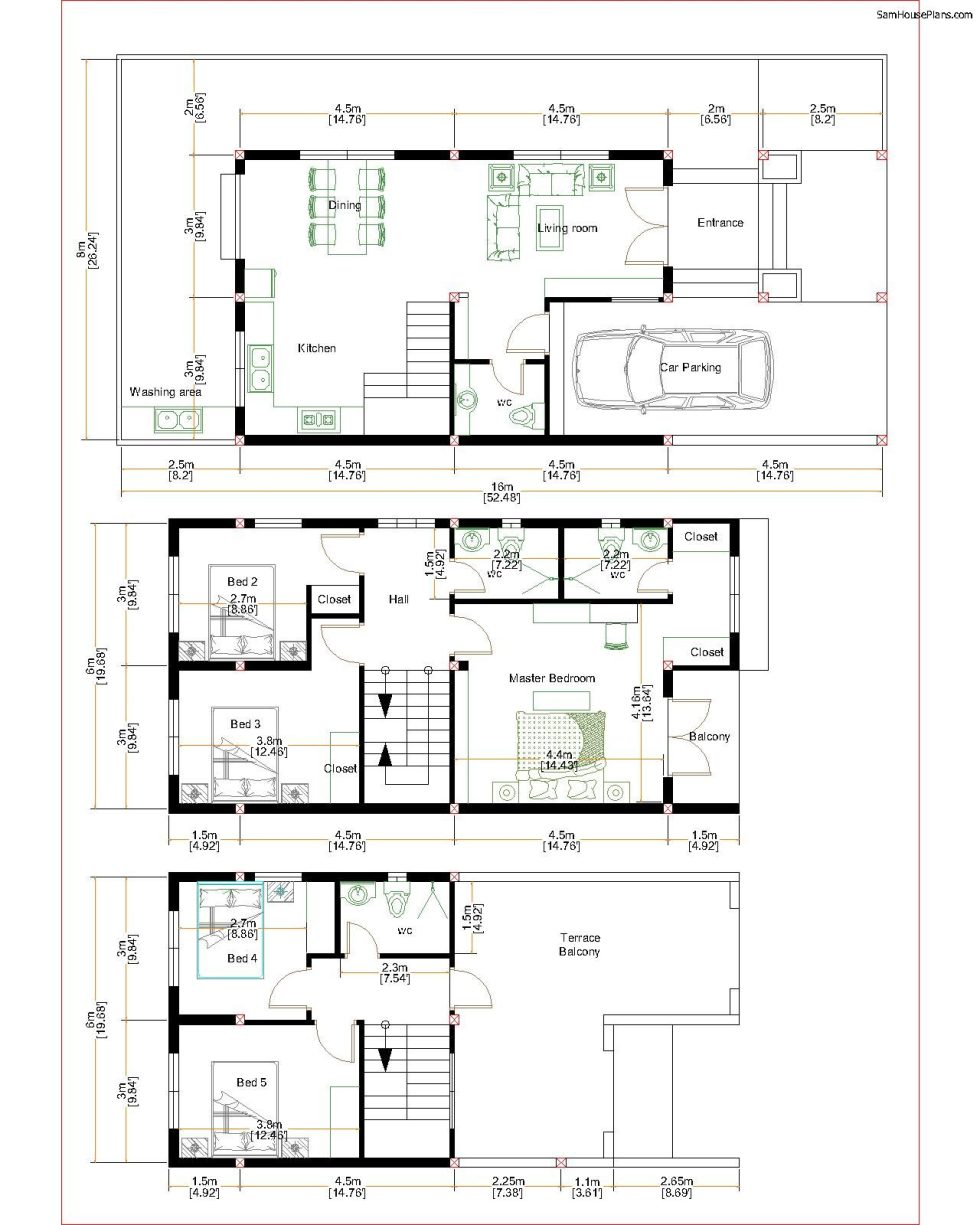 Home Design Plan 6x11m with 5 Bedrooms Plot 8x16m Floor plans