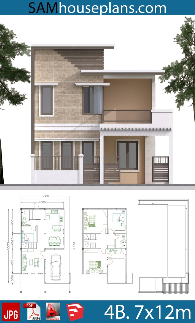 10 X 12 Bedroom Design: House Plans 7x12m With 4 Bedrooms Plot 8x15