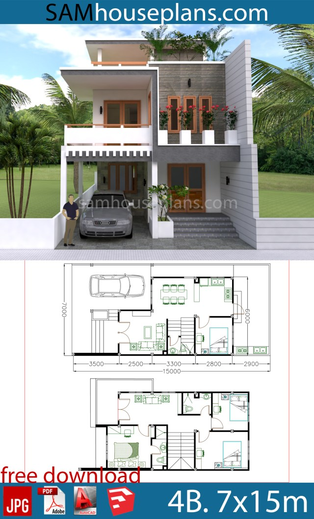 House Plans 7x15m With 4 Bedrooms Sam House Plans