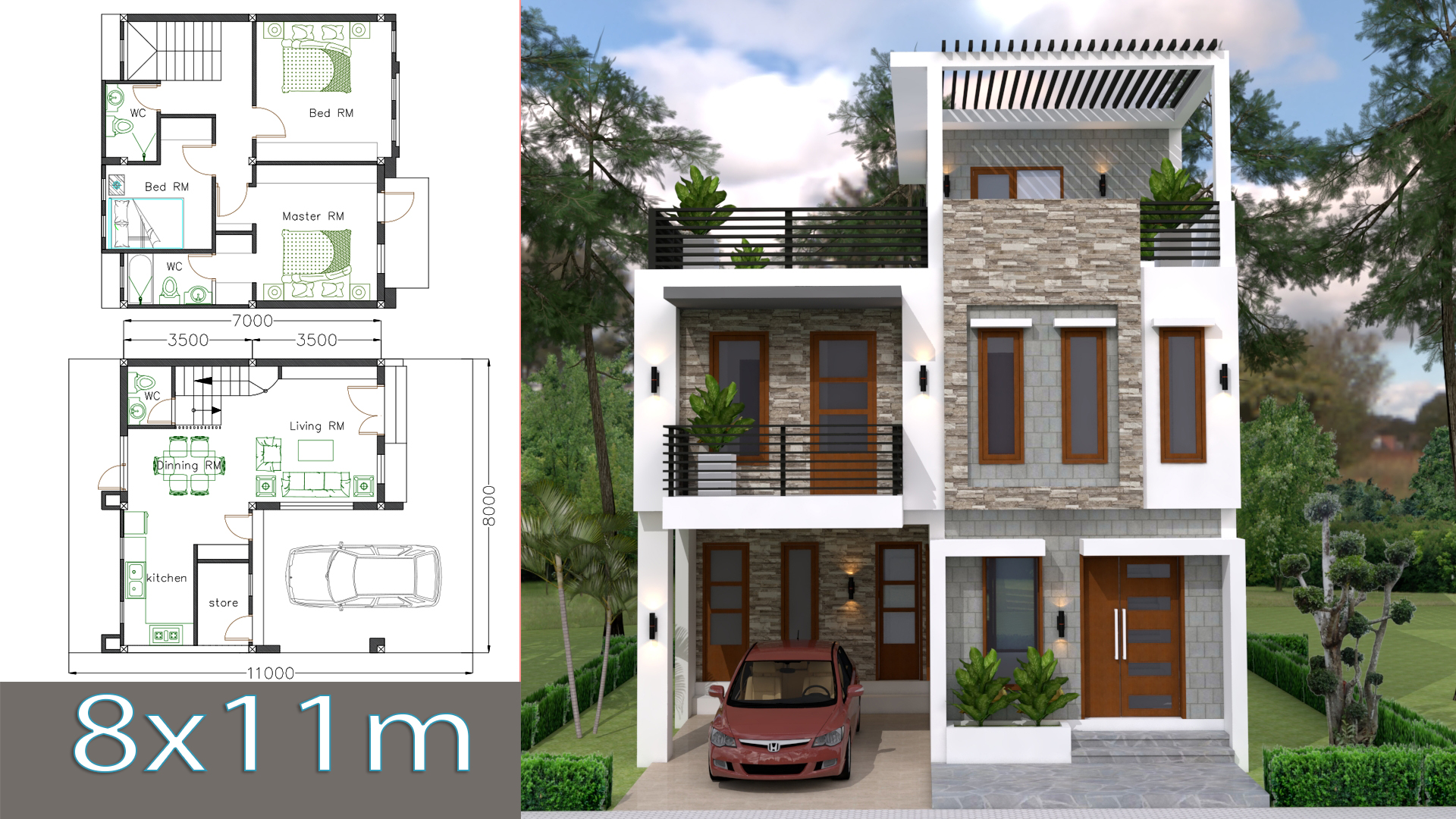 House Plans 8x11m With 3 Bedrooms
