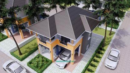 Home Plan 6x9.5m with 3 Bedrooms Roof