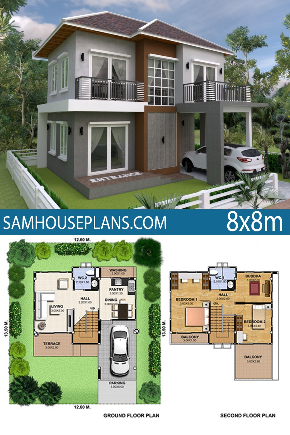 House Plan 8x8m With 3 Bedrooms Samhouseplans