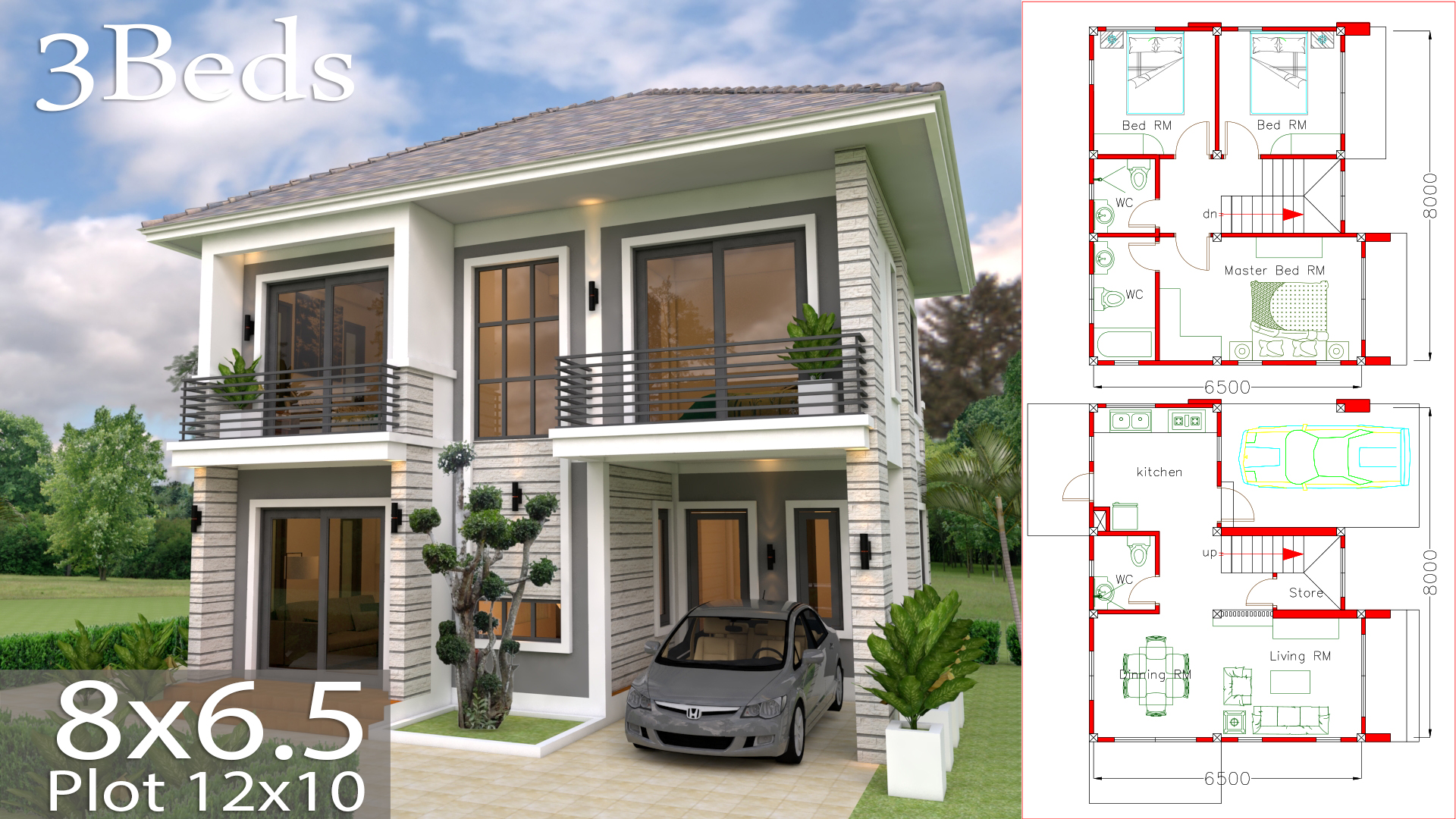 House Plans 8x6.5m With 3 Bedrooms - Sam House Plans