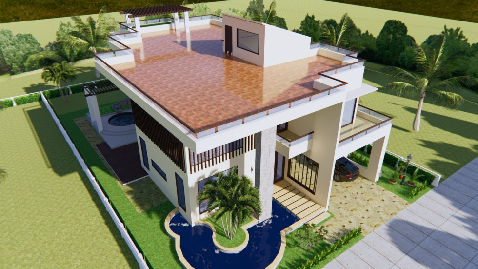 House Plan 13.5x19.8m with 4 Bedrooms 4