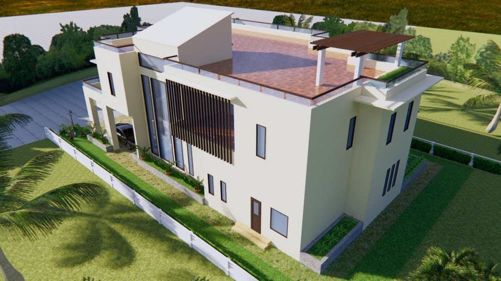 House Plan 13.5x19.8m with 4 Bedrooms 5