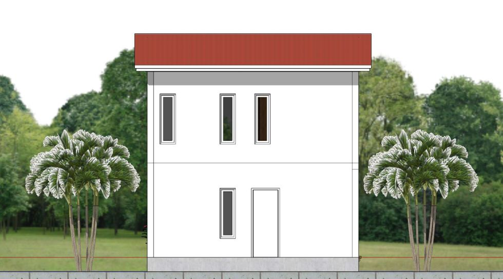 House Plan 6.5x7.5M with 2 Bedrooms back 2