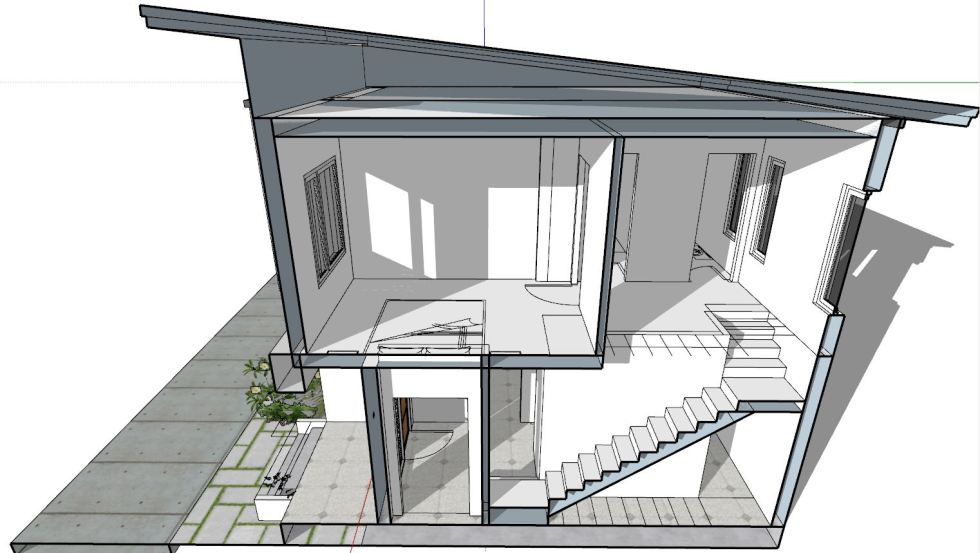 House Plan 6.5x7.5M with 2 Bedrooms section 1