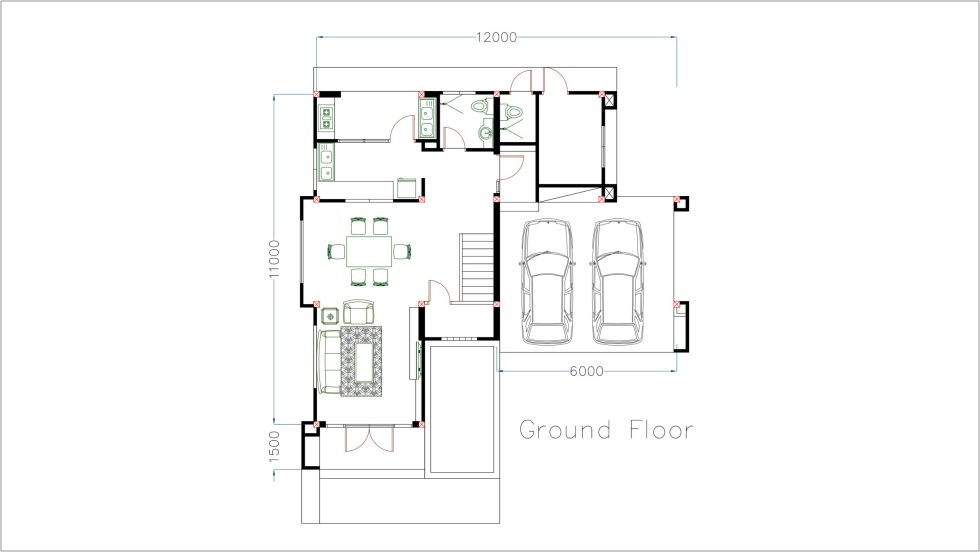 House Plans 11x12m with 4 Bedrooms Ground floor
