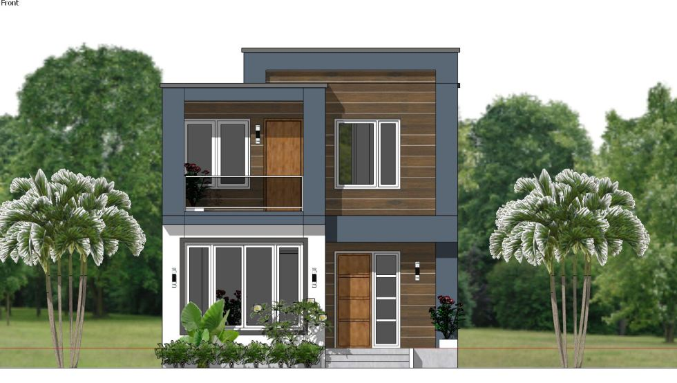 House Plans 6.5x7.5M with 2 Bedrooms front
