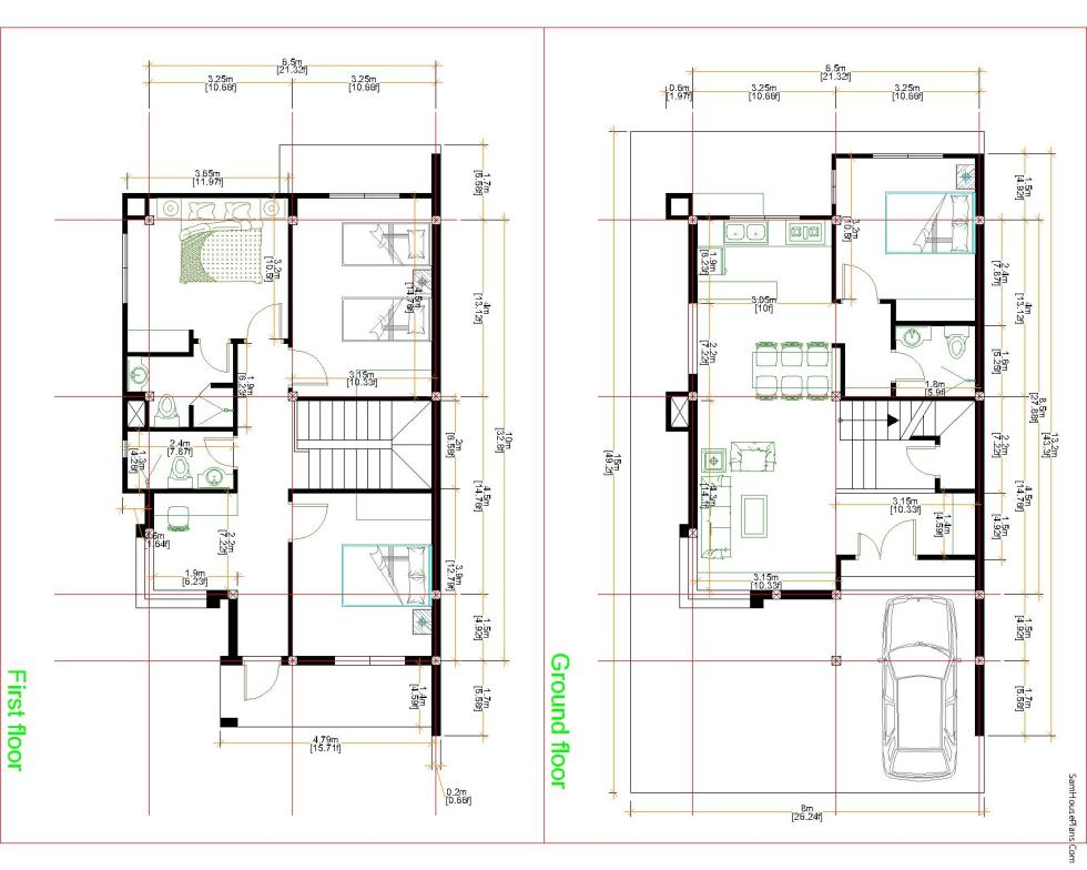 House Plans 8x15m with 4 Bedrooms