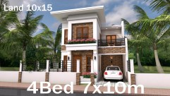 Home Plan 7x10 Meter 4 Bedrooms