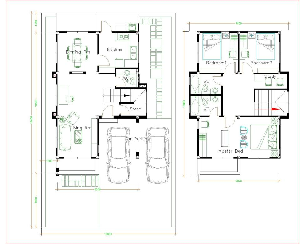 House Plans 10x16m with 3 bedrooms layout plan
