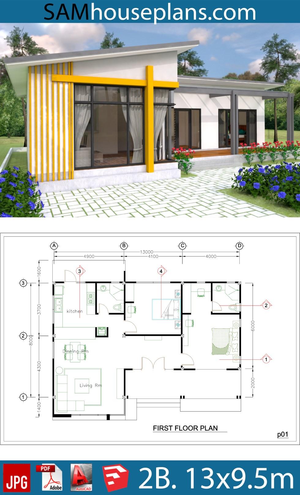 House Plans 13x9.5m Full Plan 2Beds - SamHousePlans