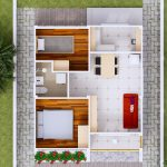 House Plans 6x7m with 2 bedrooms 20x23 Feet 3d floor plan