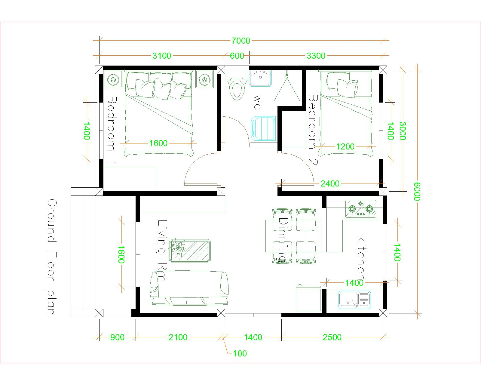 House Plans 6x7m with 2 bedrooms 20x23 Feet Pdf Full Plan floor plan