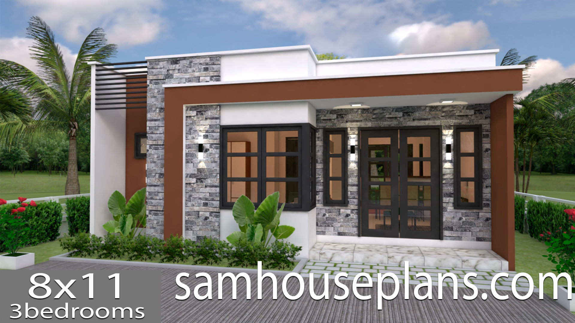 House Plans 8x11 with 3 bedrooms Full Plans - Sam House Plans