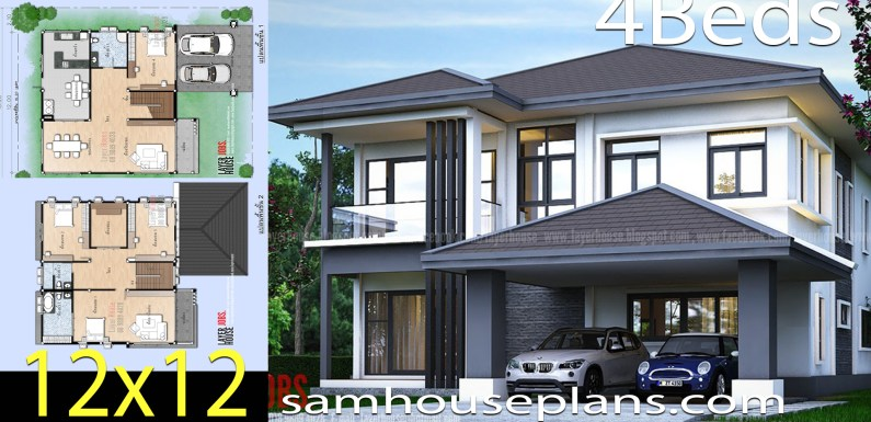 House Plans Idea 12×12.8 m with 4 bedrooms