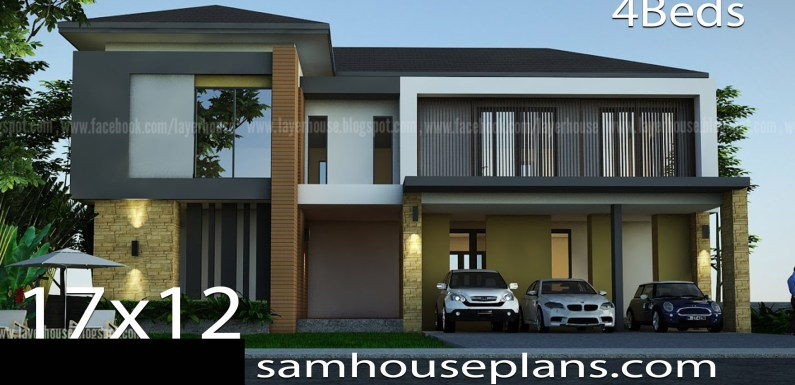 House Plans Idea 17x12m with 4 bedrooms