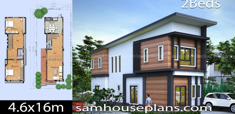 House Plans Idea 4.6x16m with 2 Bedrooms
