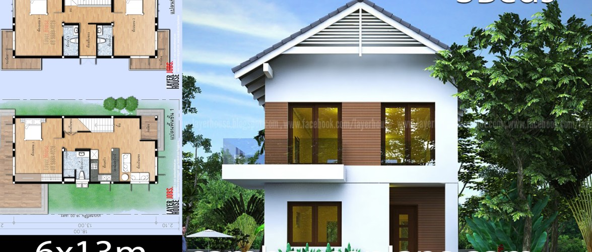 House Plans Idea 6x13m with 3 Bedrooms