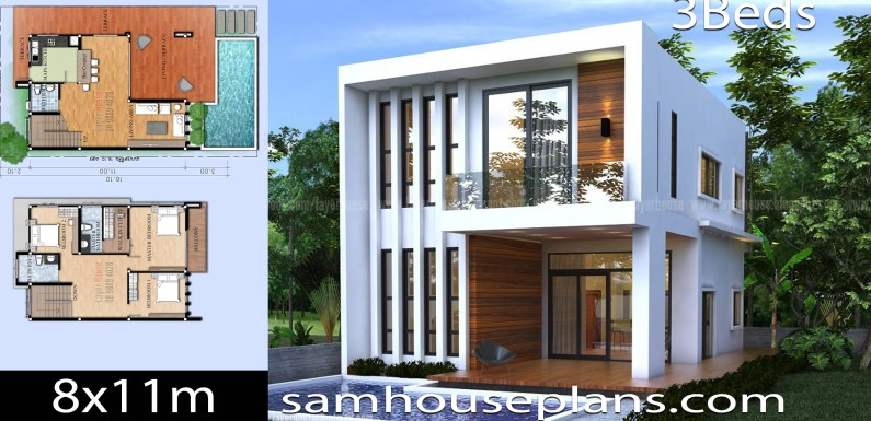 House Plans Idea 8x11m with 3 Bedrooms