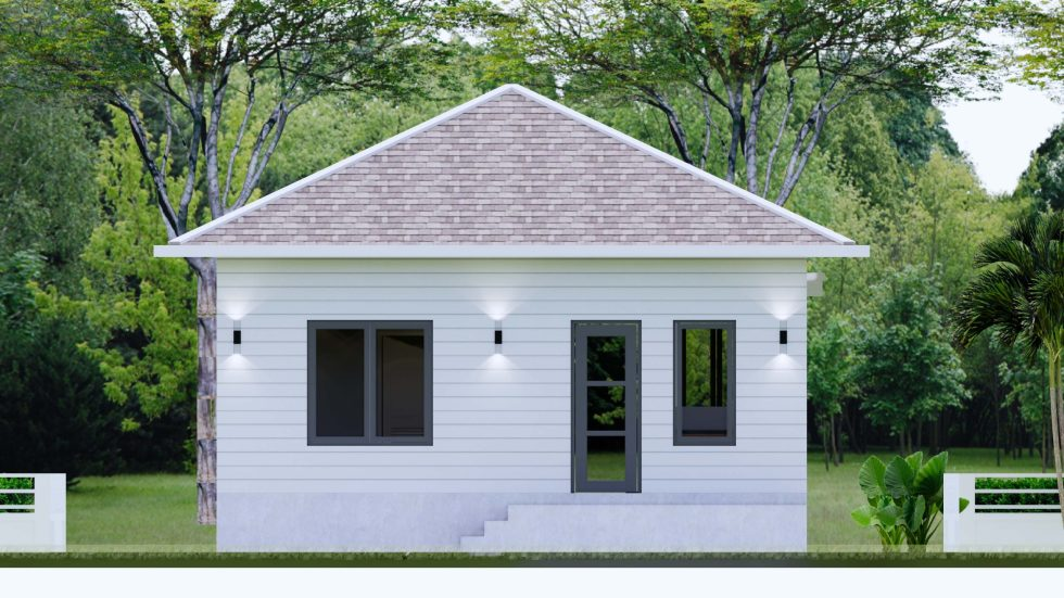House plans 7.5x8.5m with 2 bedrooms Back