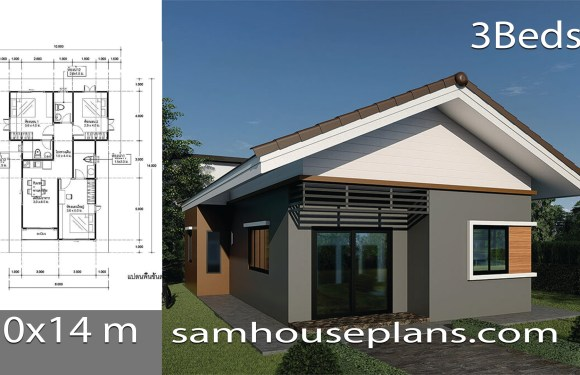 House plans Ideas 10x14m with 3 bedrooms