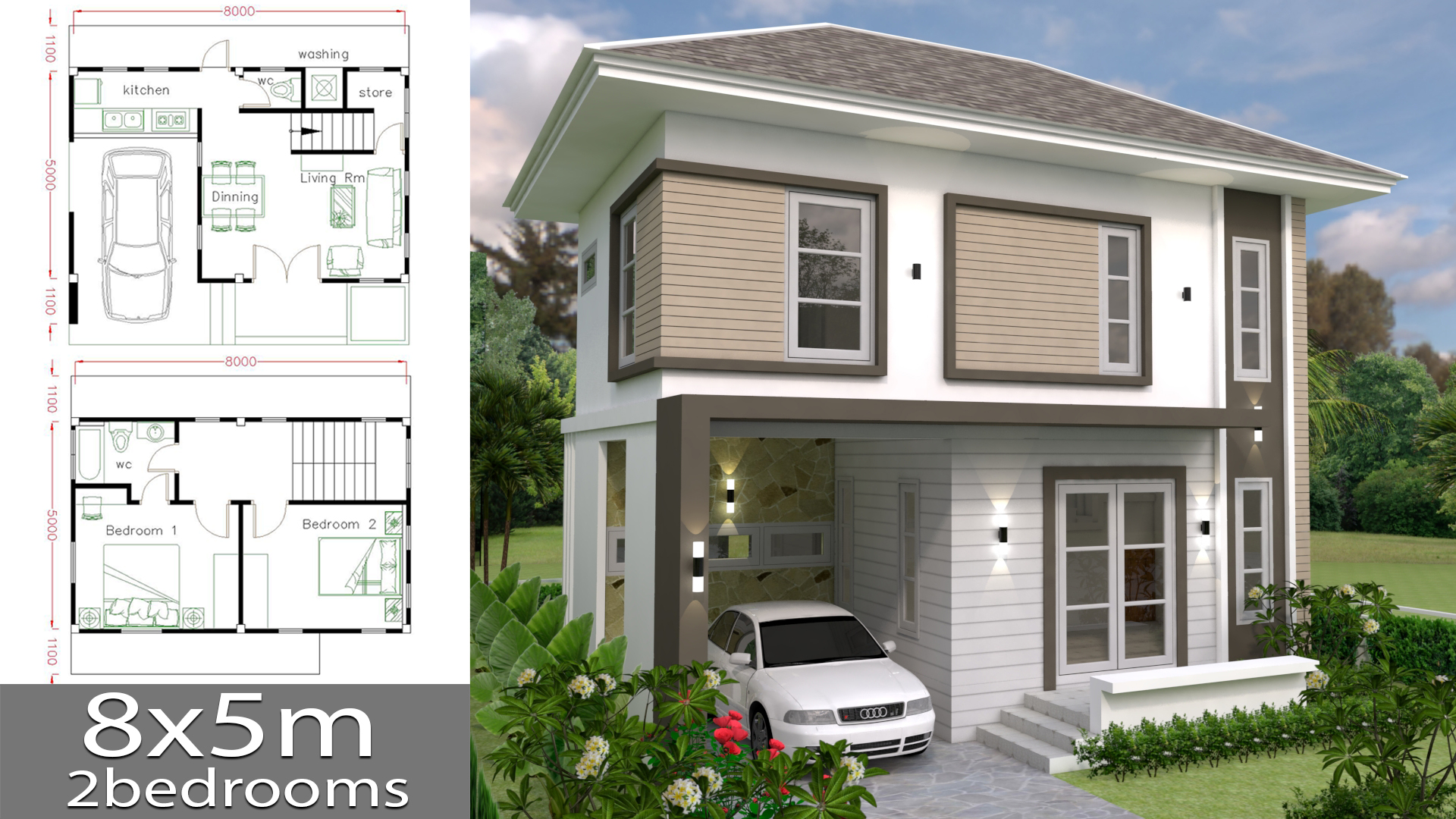 Small Home design Plan 8x5m with 2 bedrooms - SamHousePlans
