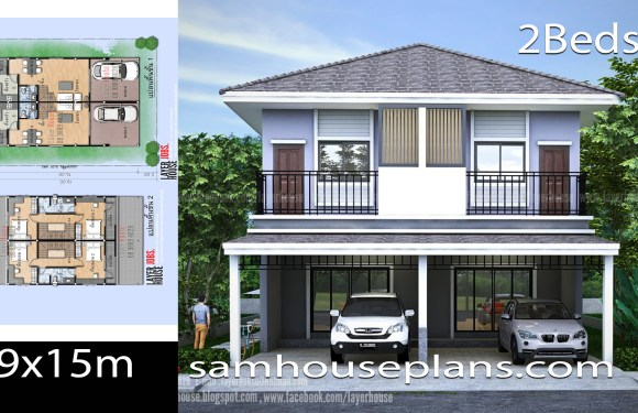 Twin House plans idea 9x15m with 2 Bedrooms each