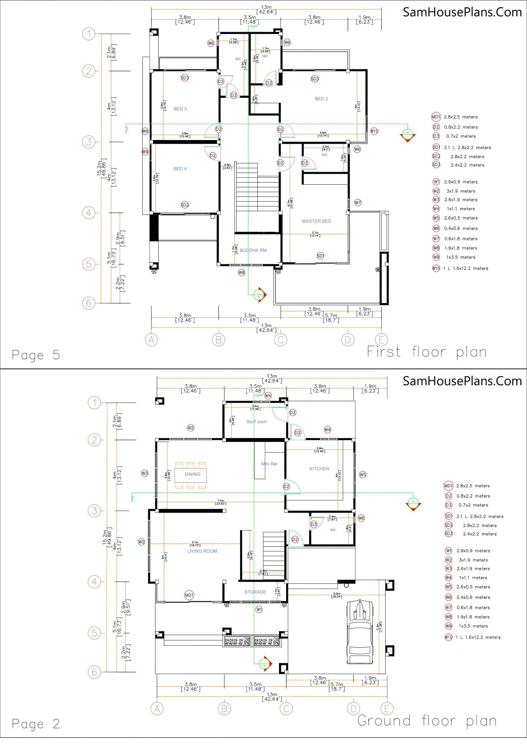 Home design plan 13x15 m 43x50 f layout plan