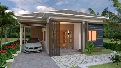 House Plans 10x11 with 3 Bedrooms Roof tiles