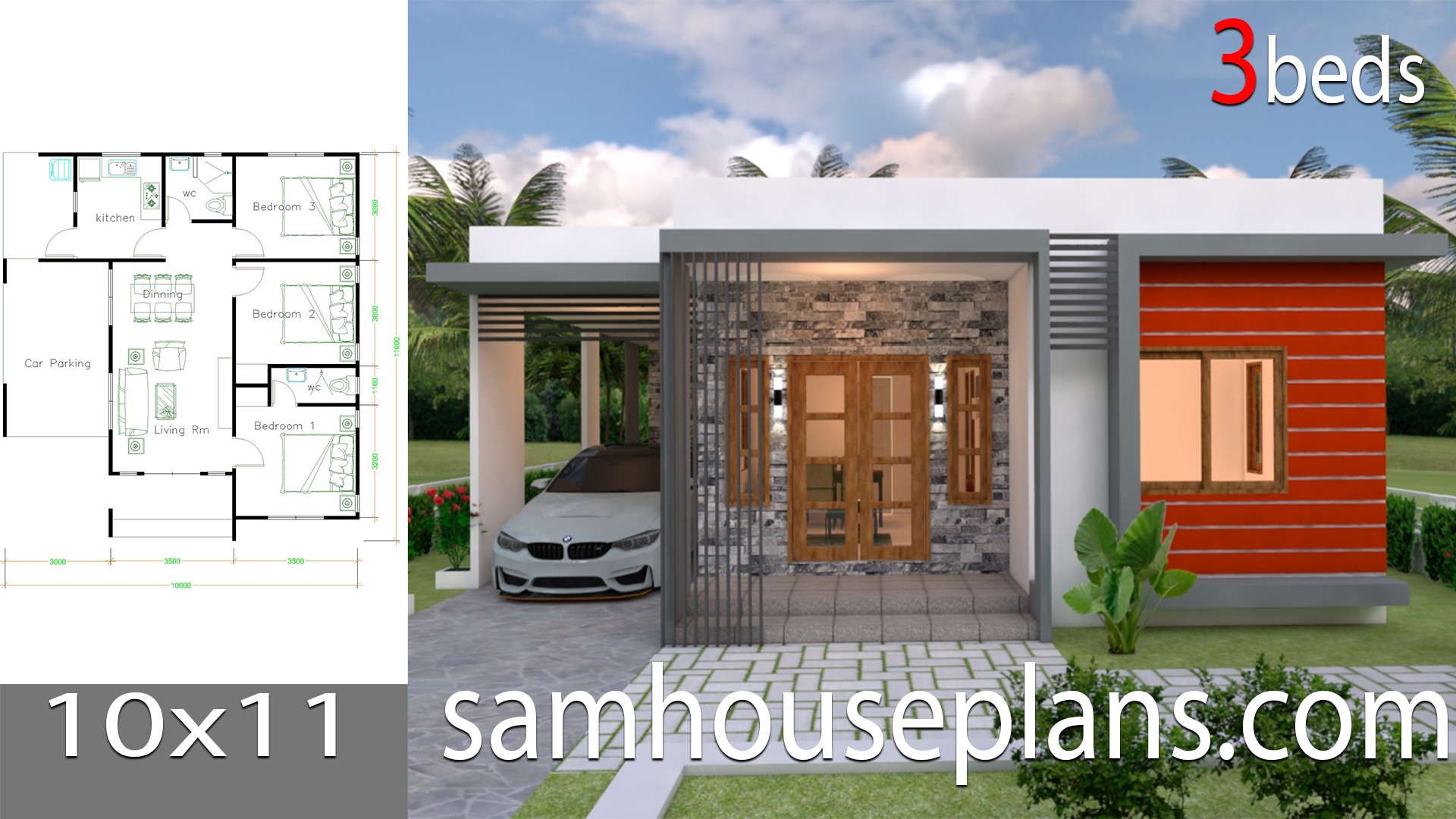 House Plans 10x11 with 3 Bedrooms - Sam House Plans