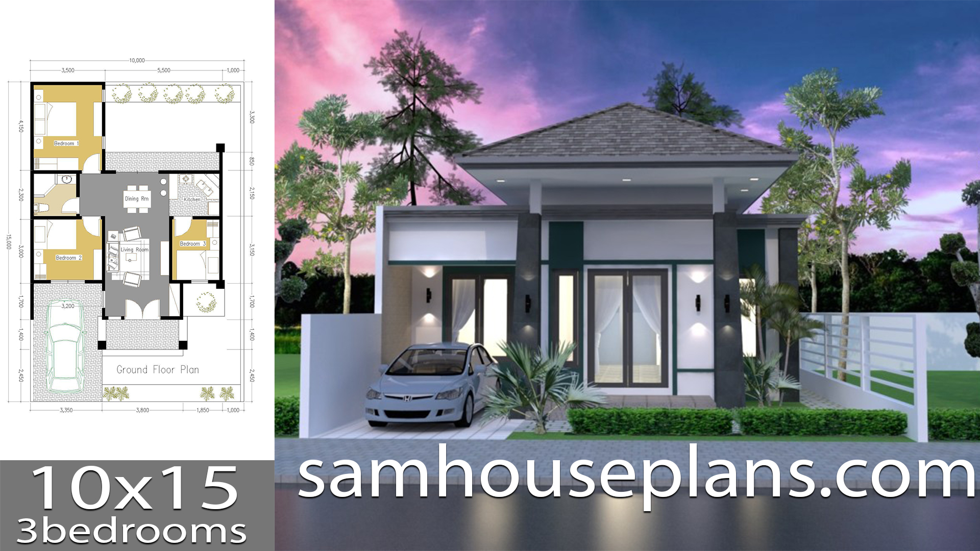 House Plans 10x15 with 3 Bedrooms - Sam House Plans