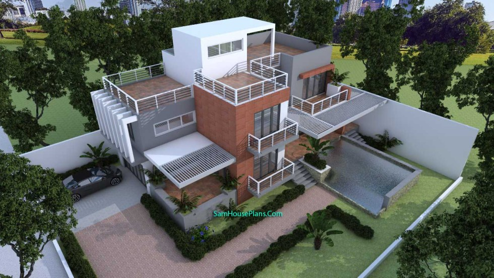 House Plans 10x16 with 3 Bedrooms v5