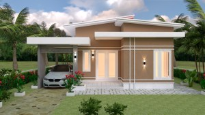 House Plans 9x12 with 3 bedrooms roof tiles 2