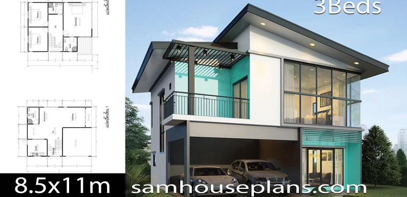 House Plans Idea 8.5×11 with 3 Bedrooms