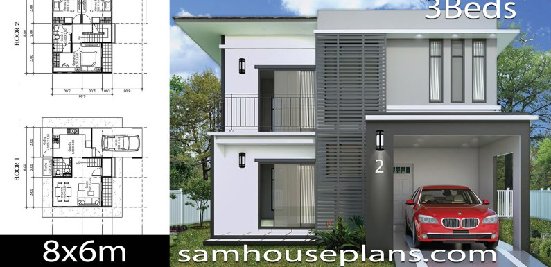 House Plans Idea 8×6 with 3 Bedrooms