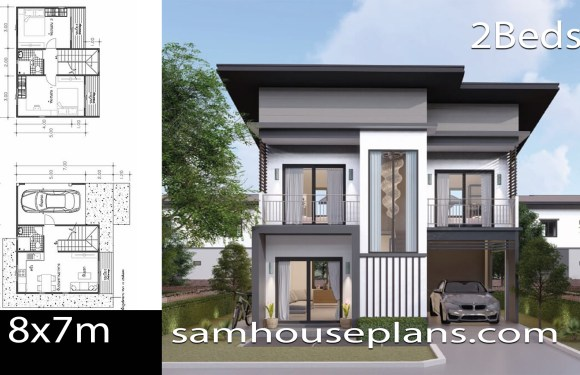 House Plans Idea 8×7 with 2 Bedrooms