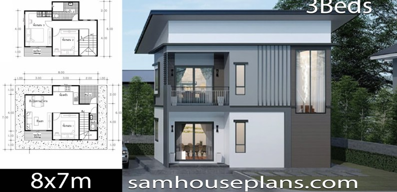 House Plans Idea 8×7 with 3 Bedrooms