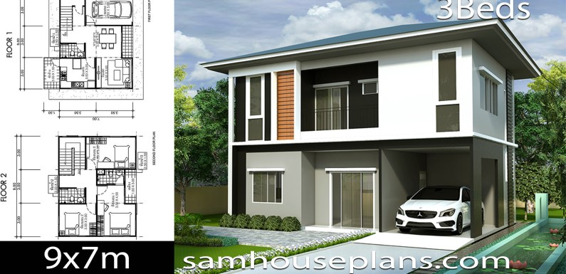 House Plans Idea 9×7 with 3 Bedrooms