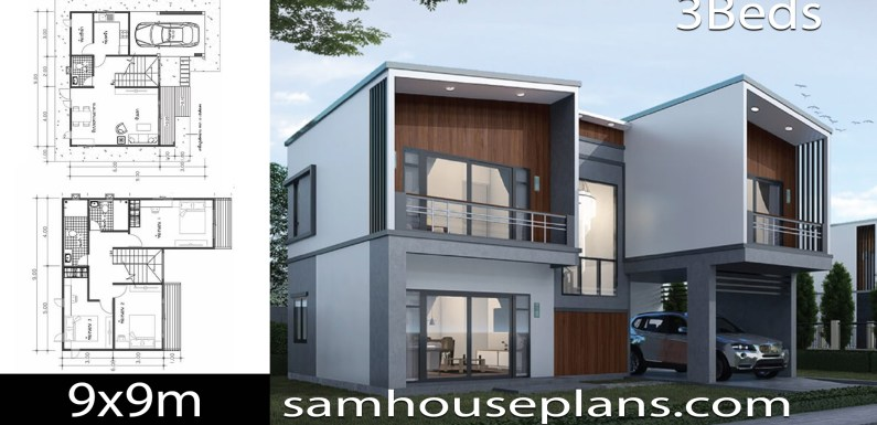House Plans Idea 9×9 with 3 Bedrooms
