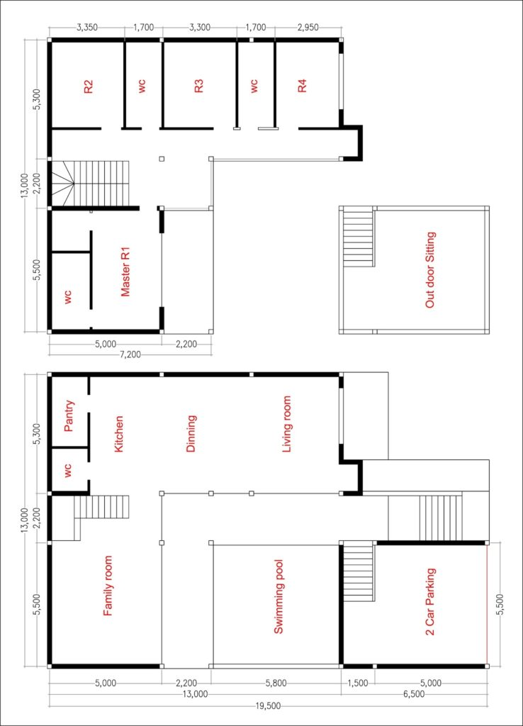 House Plans 13x19 with 4 Bedrooms