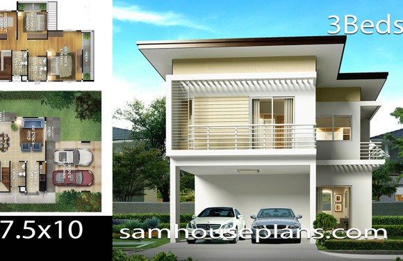 House Plans Idea 7.5×10 with 3 bedroom