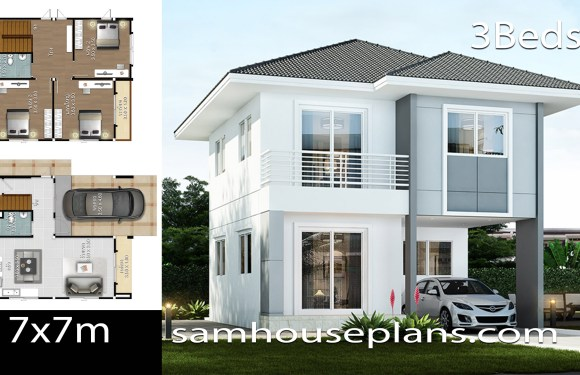 House Plans Idea 7×7 with 3 Bedrooms