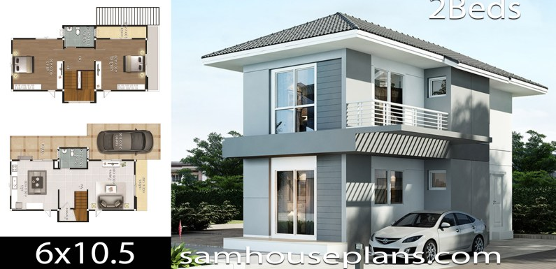 House Plans idea 6×10.5 with 2 Bedrooms