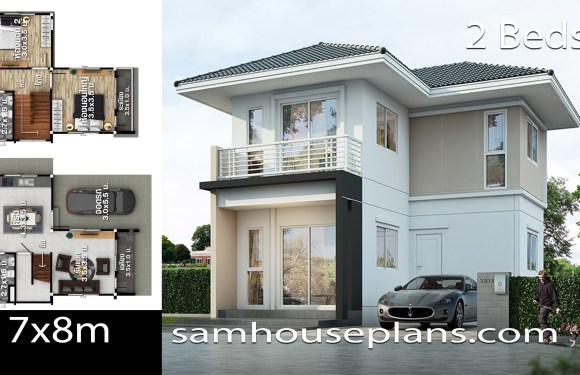 House Plans idea 7×8 with 2 bedrooms