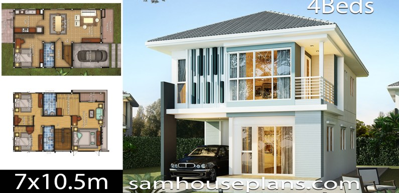 House design idea 7×10.5 with 4 bedrooms